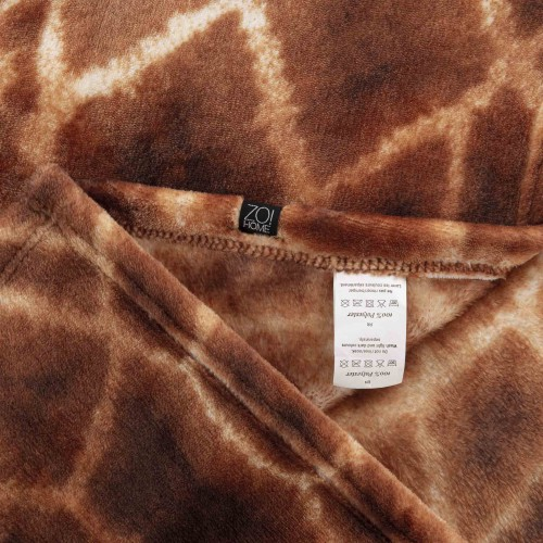 Zo! Home Fleece plaid Giraffe 140x200 (bruin)